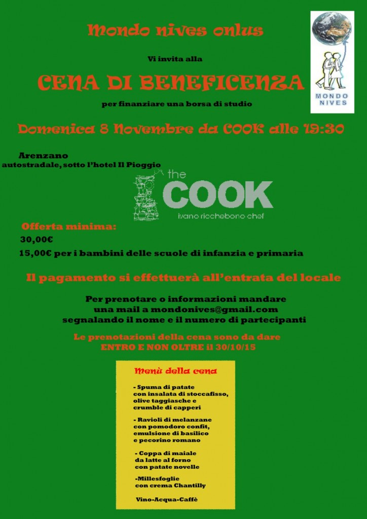 Invito cena di beneficenza 8 novembre